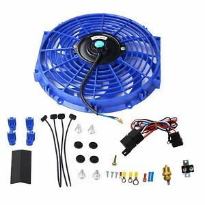 12 Blue Electric Cooling Fan 12 Volt Push in Radiator Fin Probe Thermostat Kits