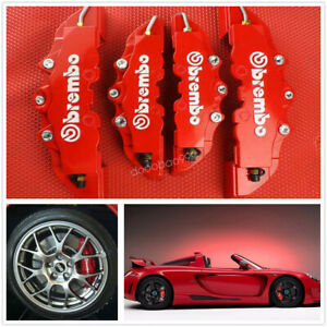 4pcs Brake Caliper Covers Front And Rear Set 3d Style For Car Truck Red Fashion
