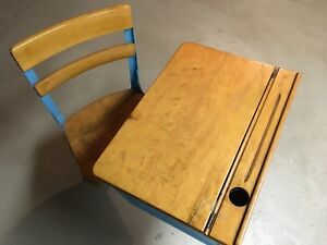 Vintage Child S School Desk And Chair Wood And Metal Desk Top Adjustable