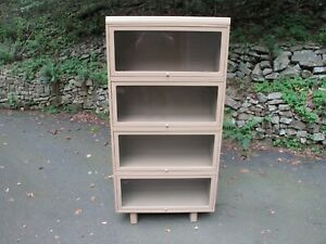 Vintage Globe Wernicke Barrister Metal Stacking Bookcase 4 Sections Top