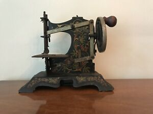 Antique Miniature Sewing Machine Childs Toy Hand Painted Floral And Birds