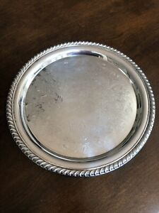 Wm Rogers Silver Plate Serving Tray 10 Round Etched 870 Braided Rope Edge
