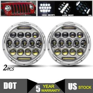 7 Inch Round Led Headlight Chrome Pair Motorcycle For Jeep Wrangler Jk Tj Hummer