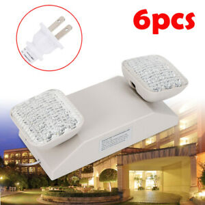 Indoor Led Emergency Light Exit Sign Lamp Standard Twin Square Head 6pcs Ip30 Us