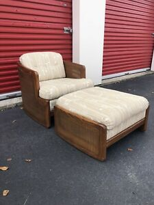 Mid Century Modern Lounge Chair And Ottoman With Caning
