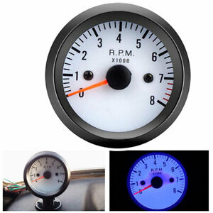 2 52mm 12v Blue Led 0 8000rpm Auto Car Boat Tachometer Tach Gauge Meter