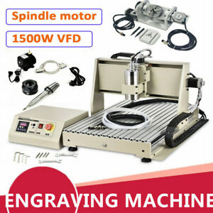 1500w 5axis 6040 Cnc Router Engraver Metal Milling Carving Machine Usb Port