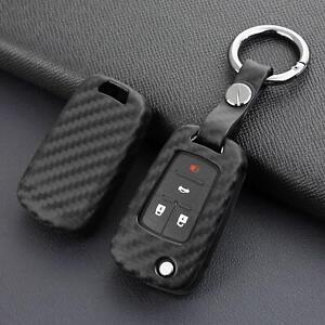 Flip Car Key Fob Case Cover For Chevy Buick Keychain Accessories Carbon Fiber