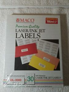 Maco Ml3000 Laser ink Jet Address Labels 1 X 2 5 8 30 sheet 3 000 box