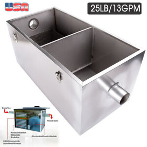 Grease Trap Interceptor 25lb 13 Gpm Stainless Steel For Restaurant Wastewater