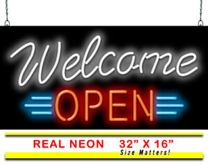 Welcome Open Neon Sign Jantec Real Neon Light Diner Gym Gas Station Store