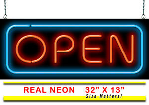 Deluxe Open Neon Sign Jantec 32 X 13 Business Restaurant Gym Real Neon