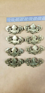 Lot 8 Vtg Nos 3 Ctc Drawer Pulls Antique Brass Finish Chippendale B 533 0