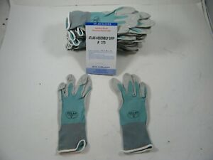 Atlas 370 Showa Work Gloves Nitrile Rubber Palms 12 Pair Small Aqua