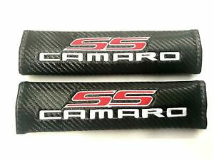 Chevy Camaro Ss Carbon Fiber Embroidery Seat Belt Covers Leather Shoulder Pads