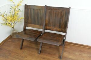 Vintage Original Theater Gymnasium Seating Wood Fold Down House Decor Old