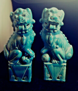 Vintage Blue Foo Dogs Chinese Ceramic Export Temple Guardian Lions Shi 9 Pair