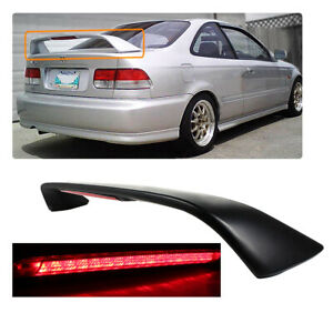 Trunk Rear Spoiler Wing W Led Brake Light Fit 1996 2000 Honda Civic 2dr 6th Si