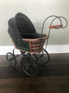 Vintage Baby Doll Pram Carriage Stroller Wicker And Black Metal Wheels