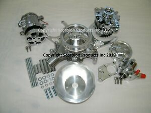 Sbc Serpentine Front Runner Pulley Drive Kit Polished A c Alternator P s 350 383