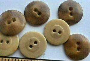 Swt Of 7 Antique Round Light Brown Vegetable Ivory Tagua Nut Buttons