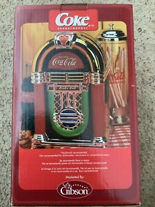 NIB Coca-Cola Rock'n Roll JukeBox Shaped Cookie Jar 2002 Gibson In Plastic Old