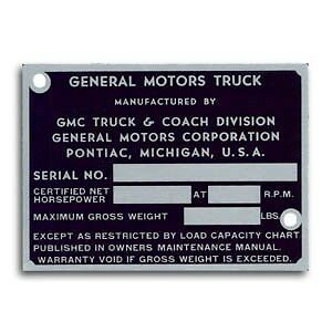 1947 1948 1949 1950 1951 1952 Or 1953 1954 1955 Gmc Truck Id Plate New