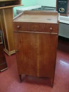 Antique1900 Oak Sheet Music Or Record Multi Shelf Cabinet With One Drawer