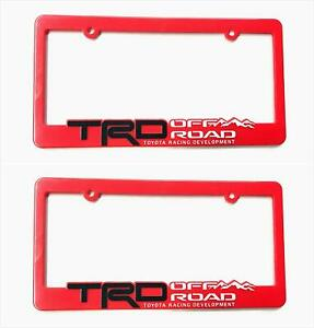 2x Trd Off Road Racing Development License Plate Holder Frame Cover For Toyota