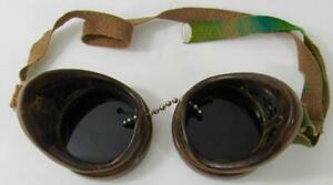 Vintage Steampunk American Optical Ao Duraweld Bakelite Dark Goggles Etched Nw 6
