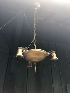 Antique Vintage Hanging Beautiful Chandelier Ceiling Light Fixture 3 Arm Brass