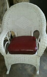 Antique White Wicker Rocker Smooth Rockers Red Leather Seat With Springs