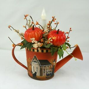 Halloween Watering Can With Timed Candle Hand Painted Folk Art Witch Rjpe
