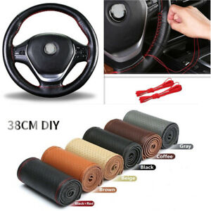 Six Color 38cm Genuine Leather Diy Car Steering Wheel Cover With Needles Thread