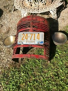 Vintage Farmall Tractor Grill W Name Badge Ny Farm License Plate