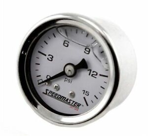 Fuel Pressure Gauge 0 15 Psi Liquid Filled 1 1 2 Diameter Full Sweep Holley