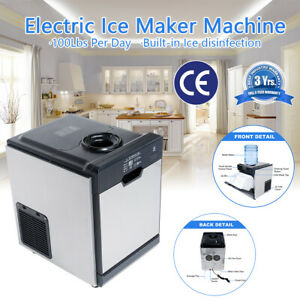 100lbs Commercial Ice Maker Cube Machine Stainless Steel Restaurant Auto Freezer