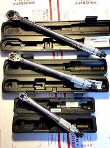 Set Of 3 1 4 3 8 1 2 Drive Click Type Torque Wrench Set With 3 Hard Cases