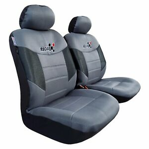 Mesh Car Seat Cover 2pcs Gray Black Embroidery Racing For Toyota Tacoma 1999 On