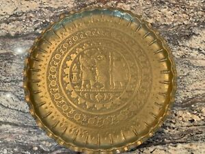 Exceptional Antique Brass Tray With Islamic Motif