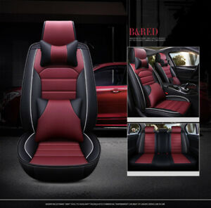 Universal 5 seat Car Seat Cover Front Rear Cushion Protector Black Red Line