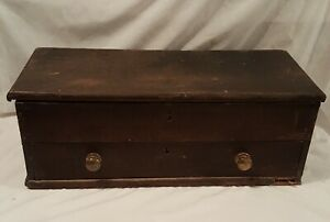 Antique Oak Carpenter S Tool Box With Drawer Brass Knobs Ca 1900