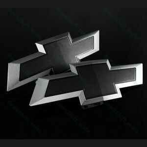 Set For 2014 2015 Gm Chevy Silverado Black Front Grill Tailgate Bow Tie Emblem