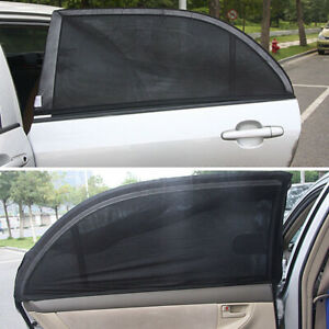 2x Car Uv Protection Sun Shade Curtains For Rear Side Window Auto Accessories