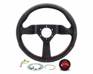 Momo Performance Monte Carlo 320mm Black Alcantara Red Stitching Steering Wheel
