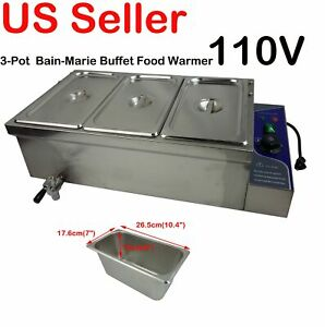 110v Bain Marie 3 Pots Pans Commercial Buffet Food Warmer Stainless Steel