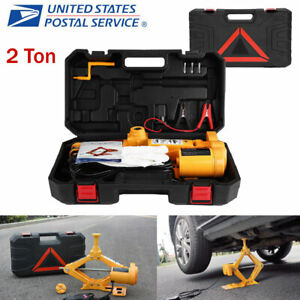 2ton 12v Dc Automotive Electric Scissor Car Jack Lifting Impact Wrench Tool Us