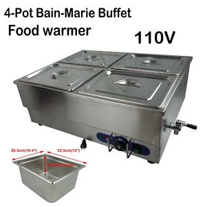 4 pots Commercial Bain marie Buffet Food Warmer Stainless Steel Steam Table 110v