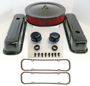 Pontiac Black Engine Dress Up Kit Tall Valve Covers Air Cleaner Red 350 389 400