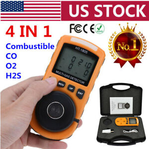 4 In 1 Toxic Gas Detector Co O2 H2s Lel Oxygen Gas Monitor Analyzer Meter Tool
